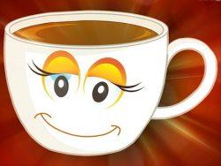Buongiorno divertente con tazza per colazione