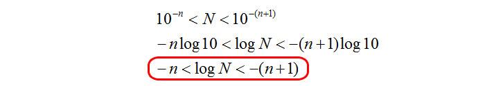 Parte decimale logaritmo